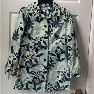 Ann Taylor Loft blue floral raincoat